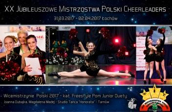 XX-Mistrzostwa-Polski-Cheerleaders-2017-Łochów-Studio-Tańca-Honorata-Tarnów-Wicemistrzynie-Polski-Dubajka-Madej-Duet